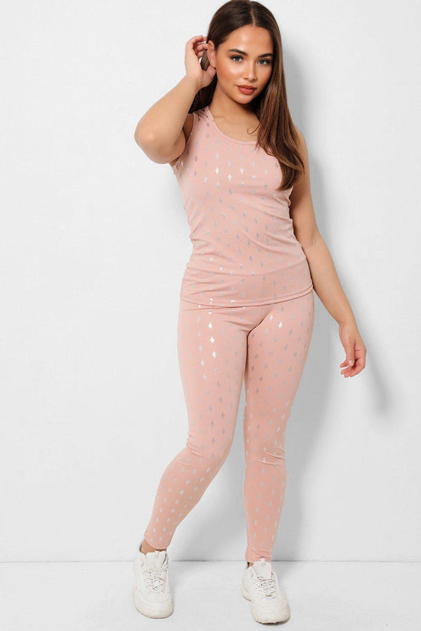 Silver Diamonds Print Pink Two Piece Tracksuit - SinglePrice