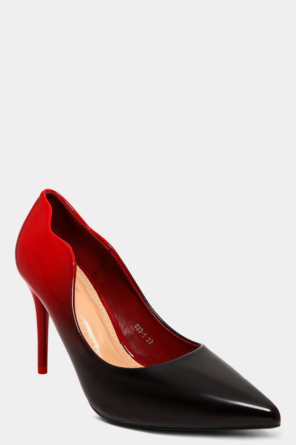 Black Red Ombre Paten Stiletto High Heels-SinglePrice