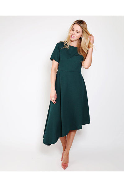 Green Asymmetric Hem Skater Dress-SinglePrice
