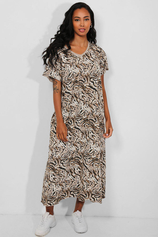 Animal Print Cotton Blend Maxi dress - SinglePrice
