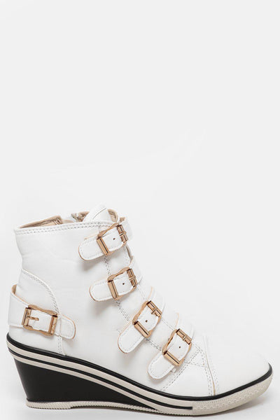 Multi Buckles White Wedge Trainer Boots-SinglePrice