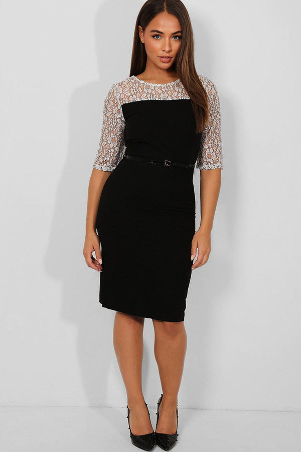 White Lace Sleeves Black Belted Smart Casual Midi Dress - SinglePrice