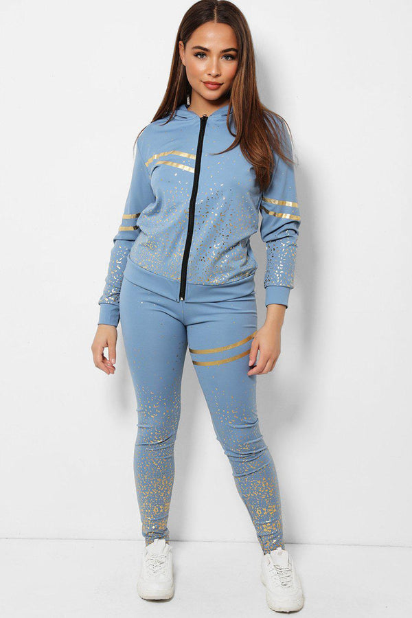 Gold Flecks Double Stripe Detail Blue 2 Piece Tracksuit - SinglePrice
