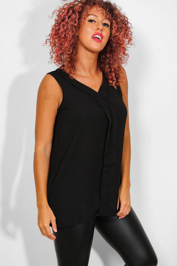 Black Chiffon Front Placket Sleeveless Top - SinglePrice