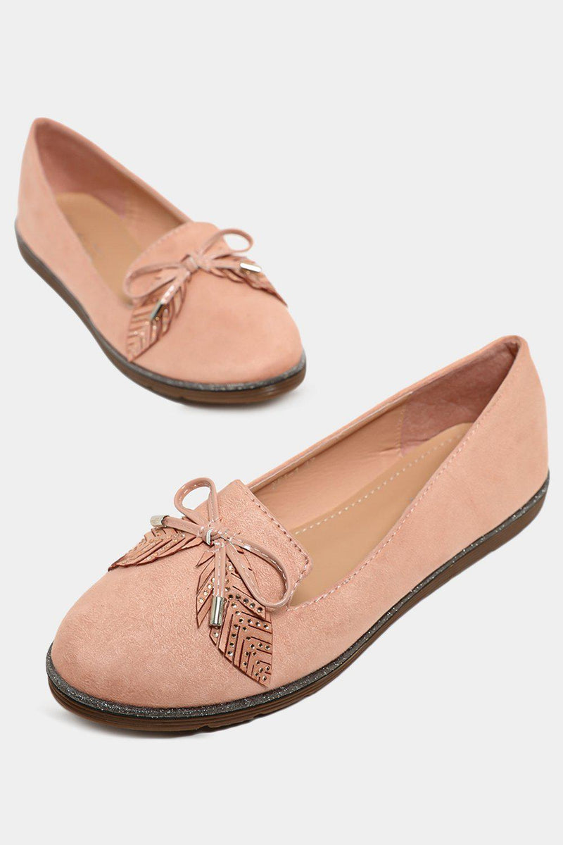 Pink Bow And Leaves Front Detail Vegan Suede Flats - SinglePrice