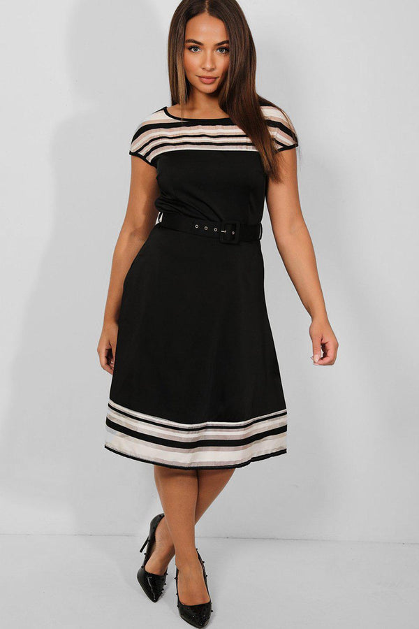 Stripy Trims Black Belted Smart Casual Midi Dress - SinglePrice