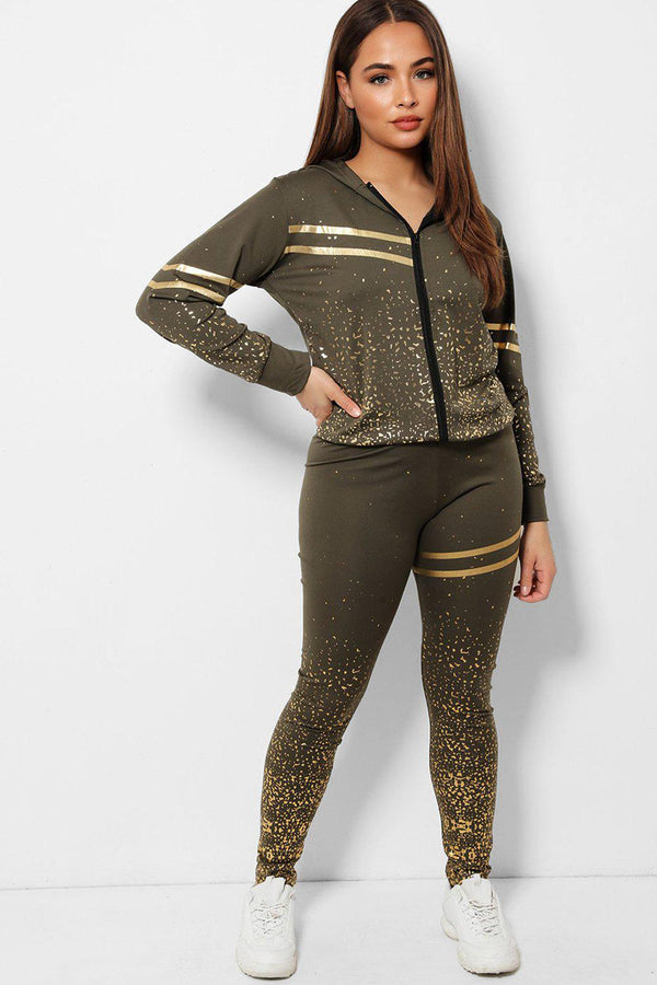 Gold Flecks Double Stripe Detail Khaki 2 Piece Tracksuit - SinglePrice