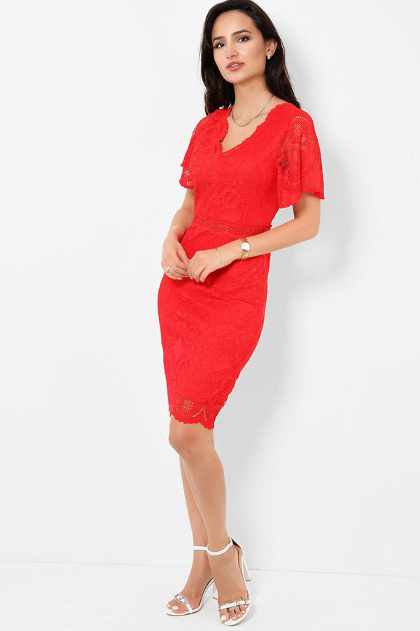 Red Lace Bodycon Midi Dress-SinglePrice