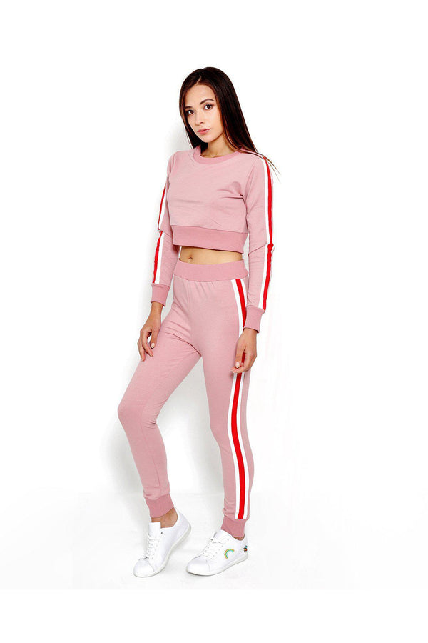Red Stripe Tape Pink Sports Leggings-SinglePrice