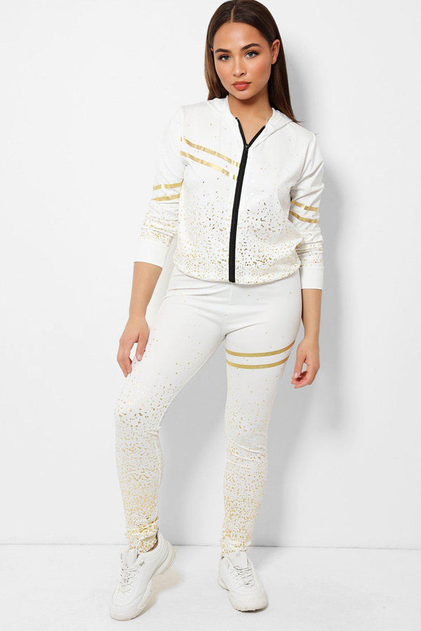 Gold Flecks Double Stripe Detail White 2 Piece Tracksuit - SinglePrice