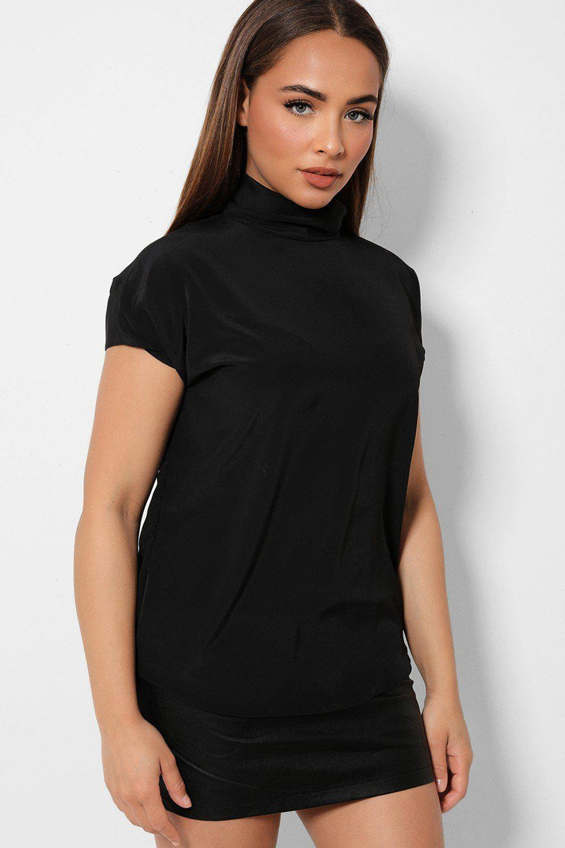 Black High Neck Buttons Back Top - SinglePrice