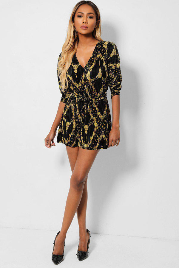 Gold Baroque Print Black Pleated Playsuit - SinglePrice