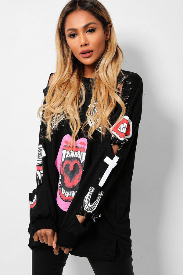 Black Distressed Safety-Pin Embellished Sweatshirt-SinglePrice