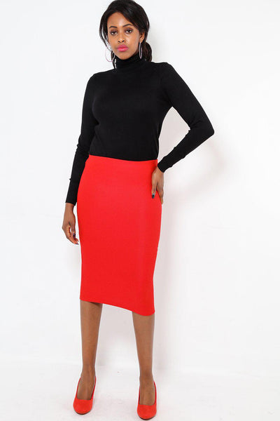 Red Textured Pencil Skirt-SinglePrice