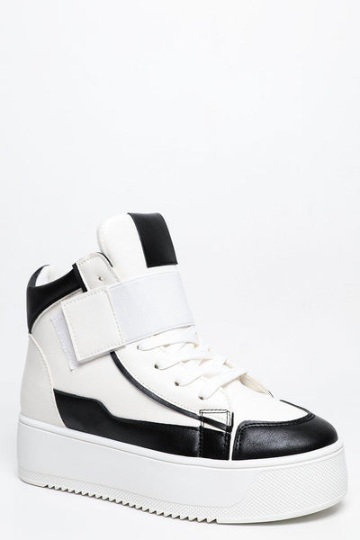 Black Panels White Platform Trainers-SinglePrice