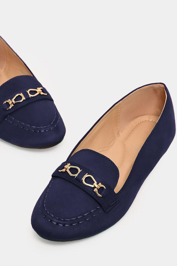 Dark Blue Gold Buckle Detail Vegan Suede Flats - SinglePrice