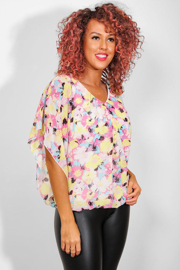Multicolour Floral Watercolour Print Batwing Top - SinglePrice