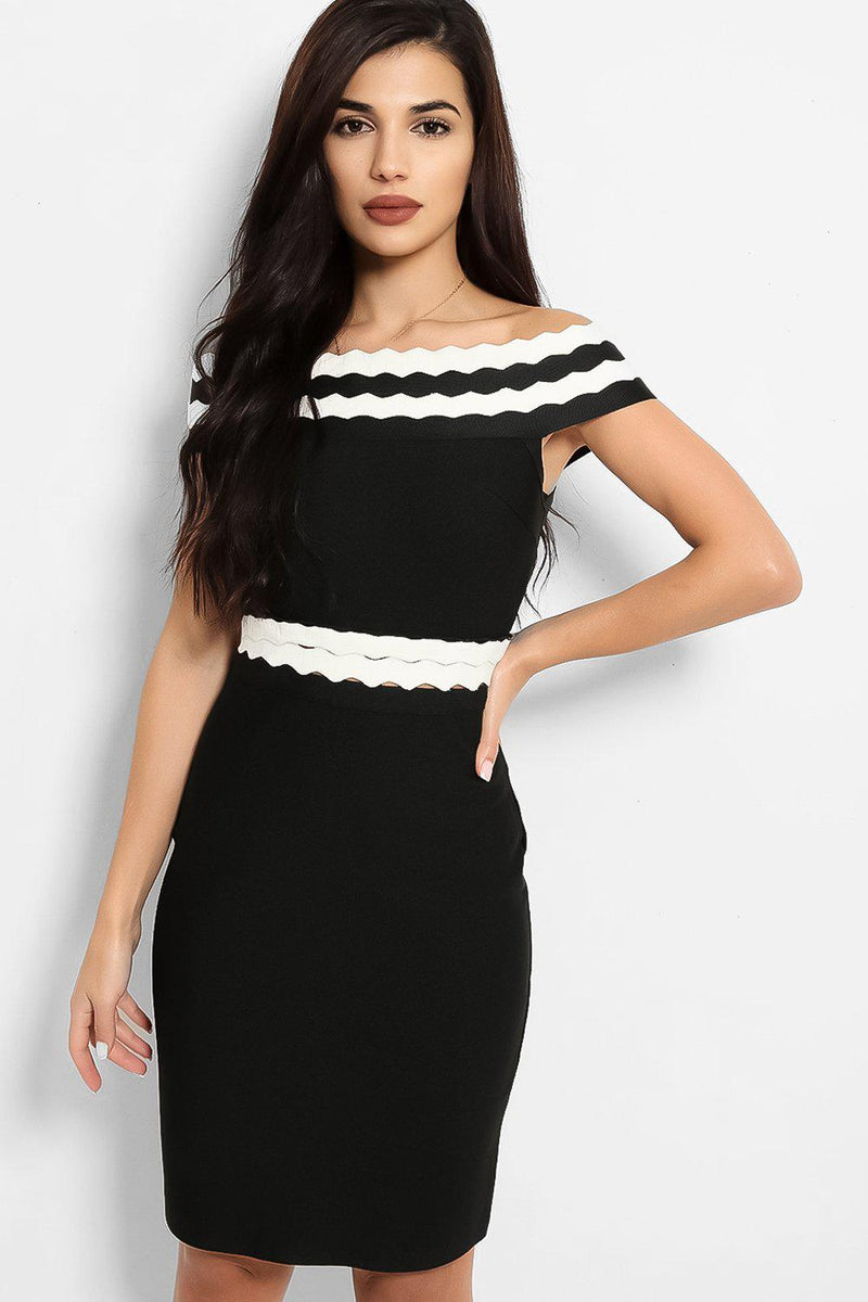 Black Contrast Scallop Panels Bandage Dress - SinglePrice