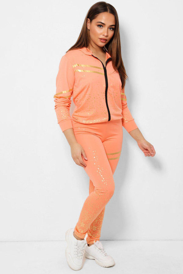 Gold Flecks Double Stripe Detail Coral 2 Piece Tracksuit - SinglePrice