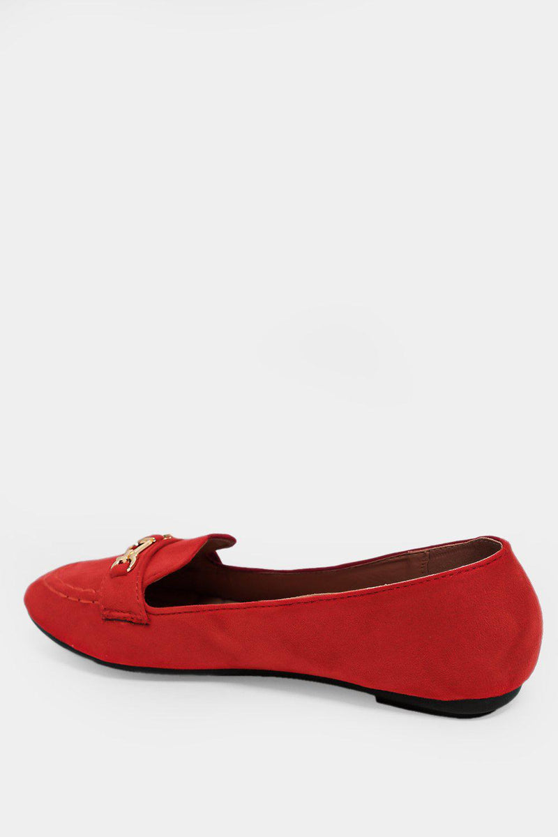 Red Gold Buckle Detail Vegan Suede Flats - SinglePrice