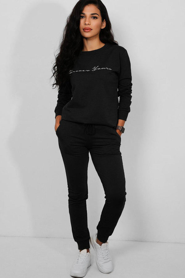 Black Forever Yours Cotton Blend 2 Piece Tracksuit - SinglePrice