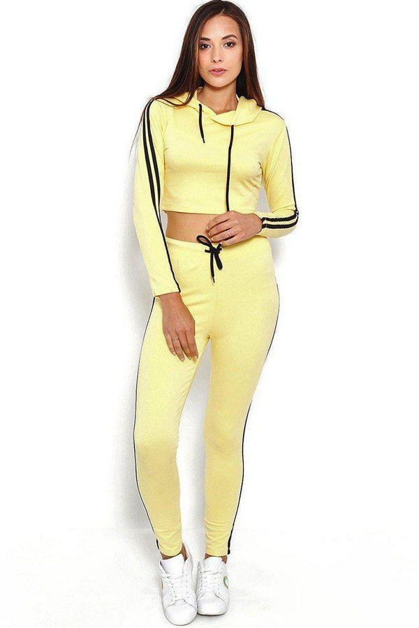 Double Black Stripe Yellow Sports Leggings-SinglePrice
