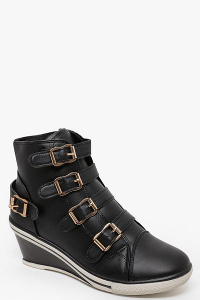 Multi Buckles Black Wedge Trainer Boots-SinglePrice