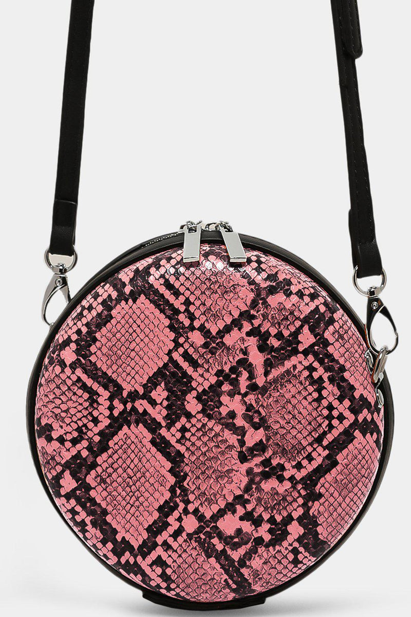 Pink Python Zipped Small Round Cross Body Bag - SinglePrice