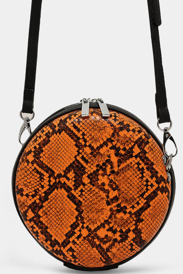 Orange Python Zipped Small Round Cross Body Bag - SinglePrice