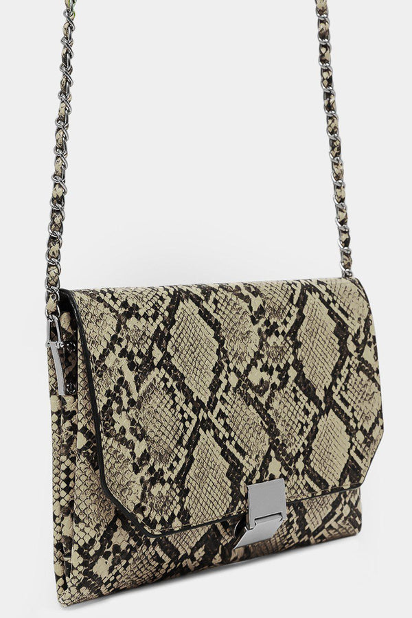 Beige Vegan Leather Python Print Shoulder Bag - SinglePrice