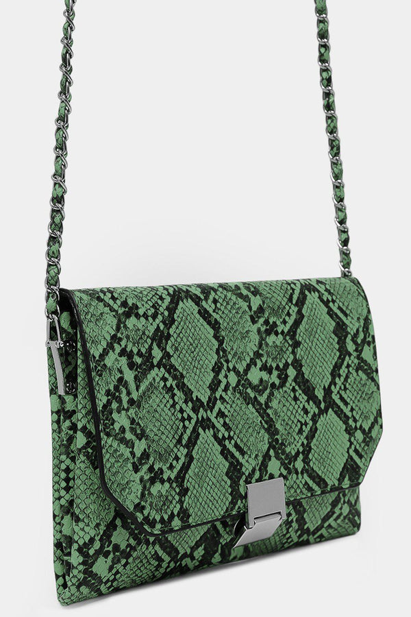 Green Vegan Leather Python Print Shoulder Bag - SinglePrice