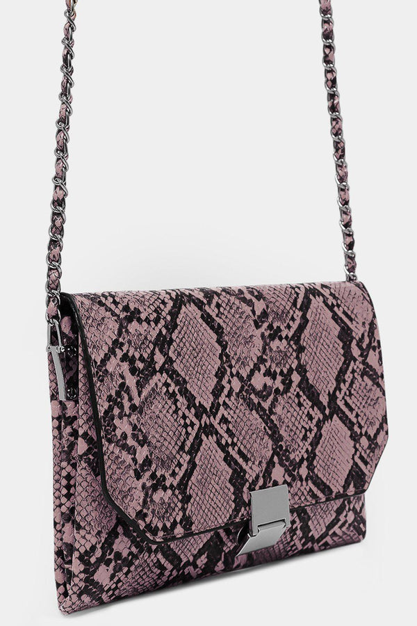 Pink Vegan Leather Python Print Shoulder Bag - SinglePrice