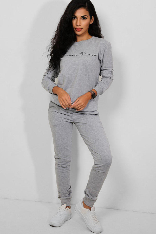 Grey Forever Yours Cotton Blend 2 Piece Tracksuit - SinglePrice