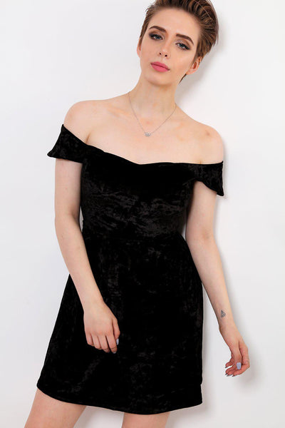 Crushed Velvet Black Off Shoulder Dress-SinglePrice