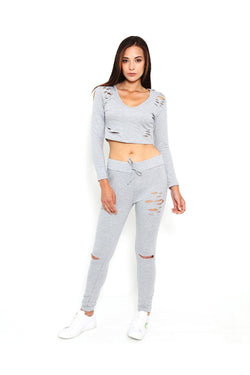 Grey Distressed Sports Sports Bottoms-SinglePrice