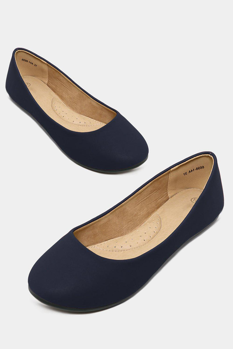 Blue Vegan Nubuck Leather Flats - SinglePrice