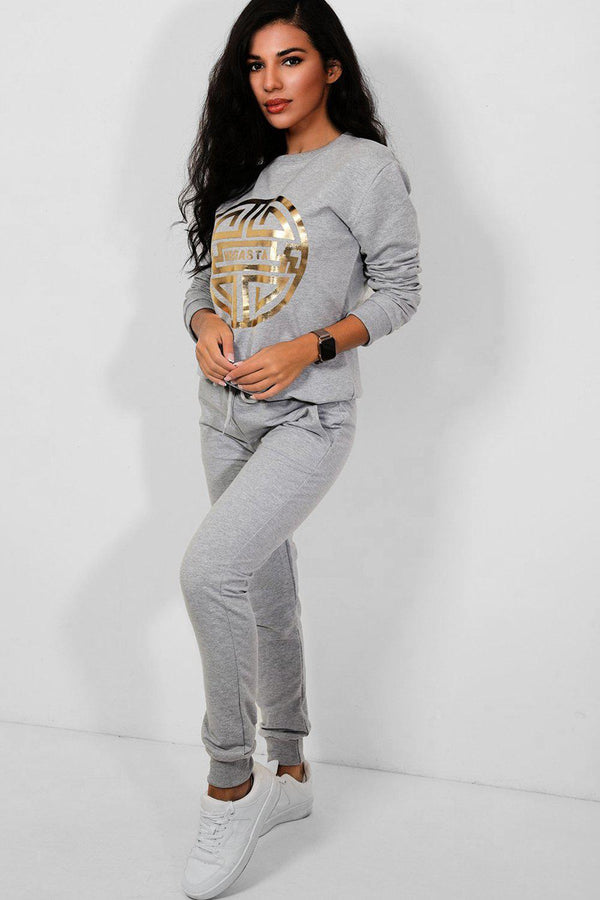 Grey Gold Megasta Front Cotton Blend 2 Piece Tracksuit - SinglePrice