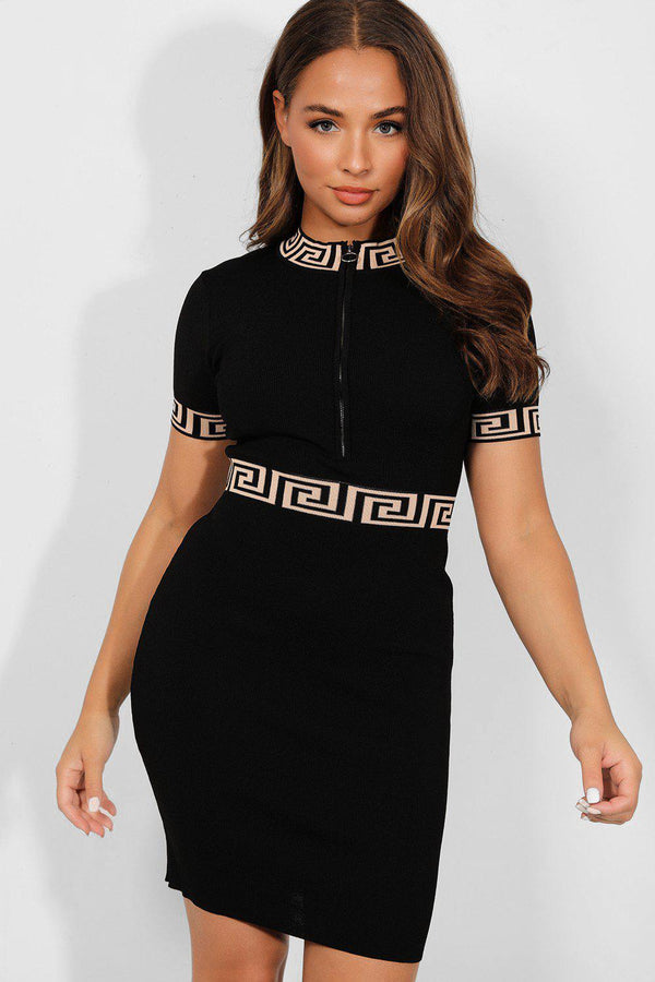 Black Greek Key Details Zipped Front Knitted dress - SinglePrice