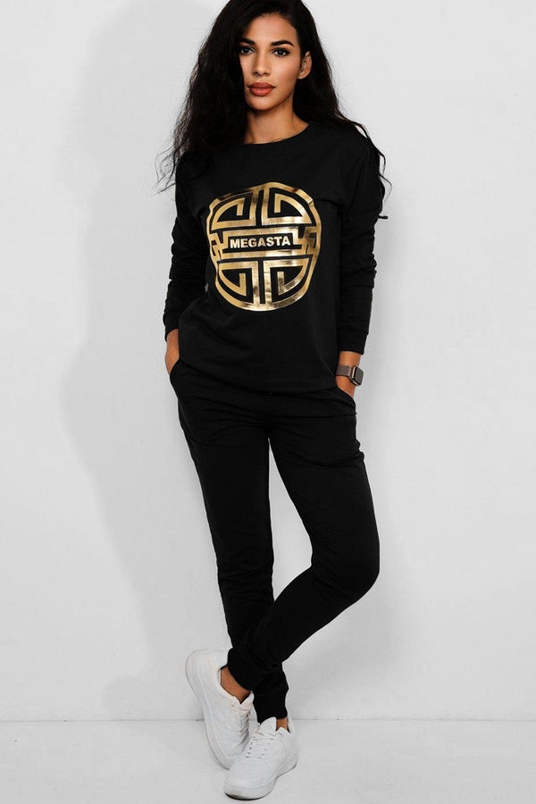 Black Gold Megasta Front Cotton Blend 2 Piece Tracksuit - SinglePrice
