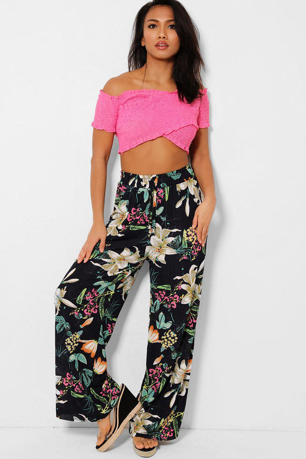 Yellow Flowers Print Navy Semi Sheer Wide Leg Trousers