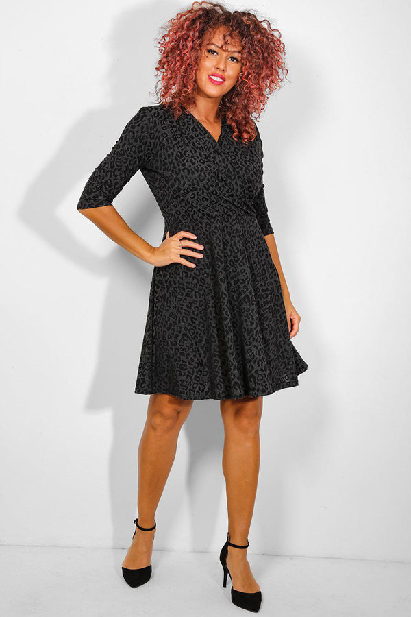 Black Leopard Jacquard Faux Wrap Dress - SinglePrice