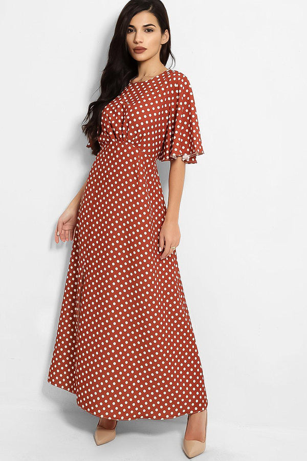 Brown Polka Dot Print Side Split Maxi Dress - SinglePrice