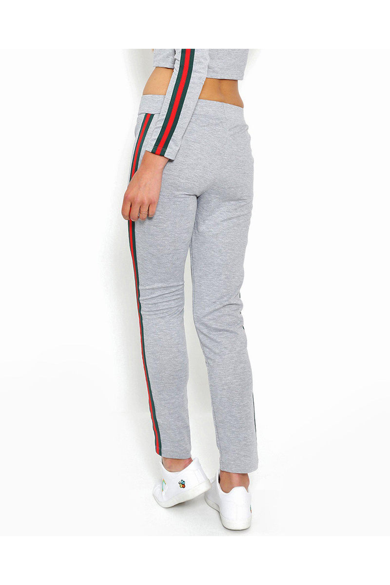 Green Red Stripe Grey Sport Bottoms - SinglePrice