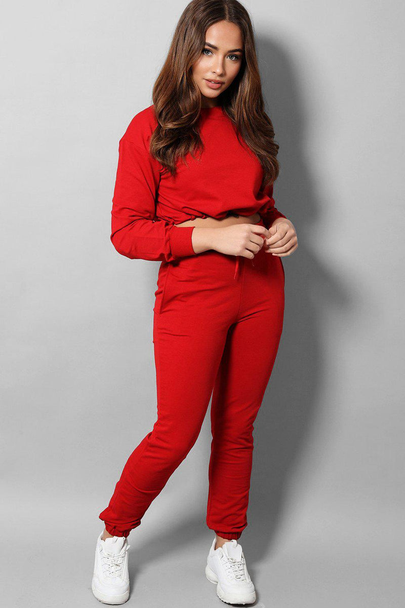 Red Cropped Drawstring Top 2 Piece Tracksuit - SinglePrice