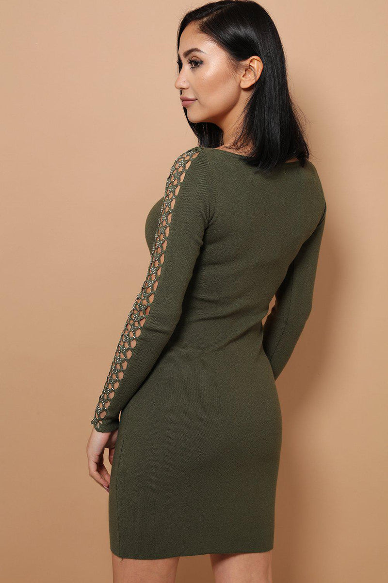 Green Embellished Star Lace Soft Knit Mini Dress - SinglePrice