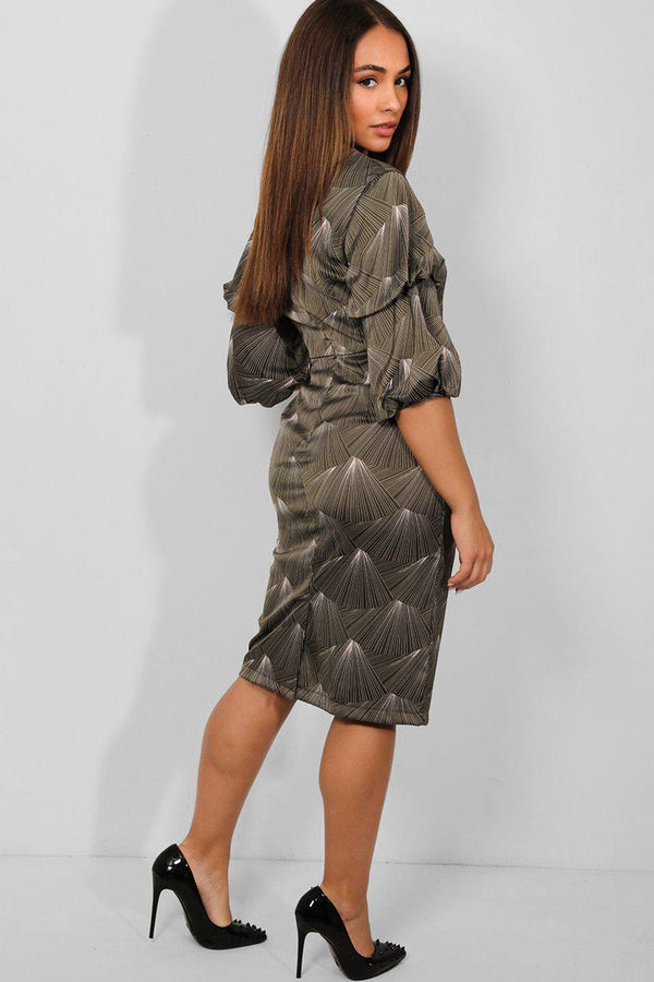 Khaki Spectral Print Puff Sleeves Midi Dress - SinglePrice