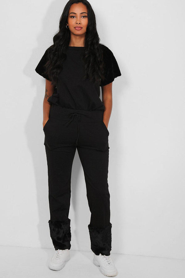 Black Faux Fur Trims T-Shirt And Trousers Lounge Set-SinglePrice