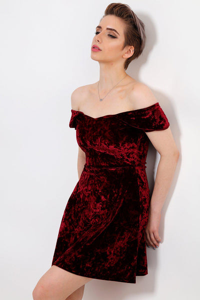 Crushed Velvet Burgundy Off Shoulder Dress-SinglePrice