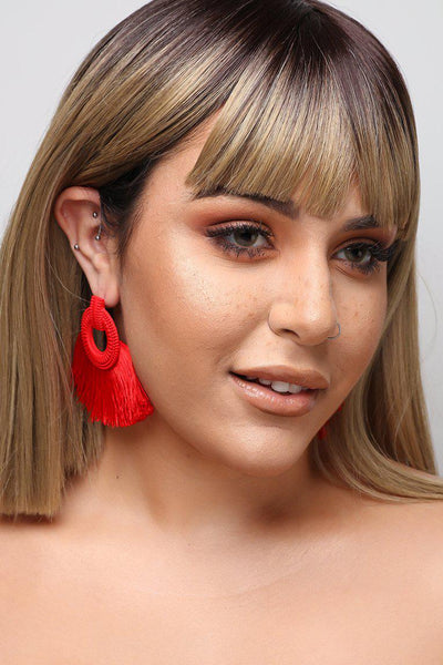 Red Fan Tassel Earrings-SinglePrice