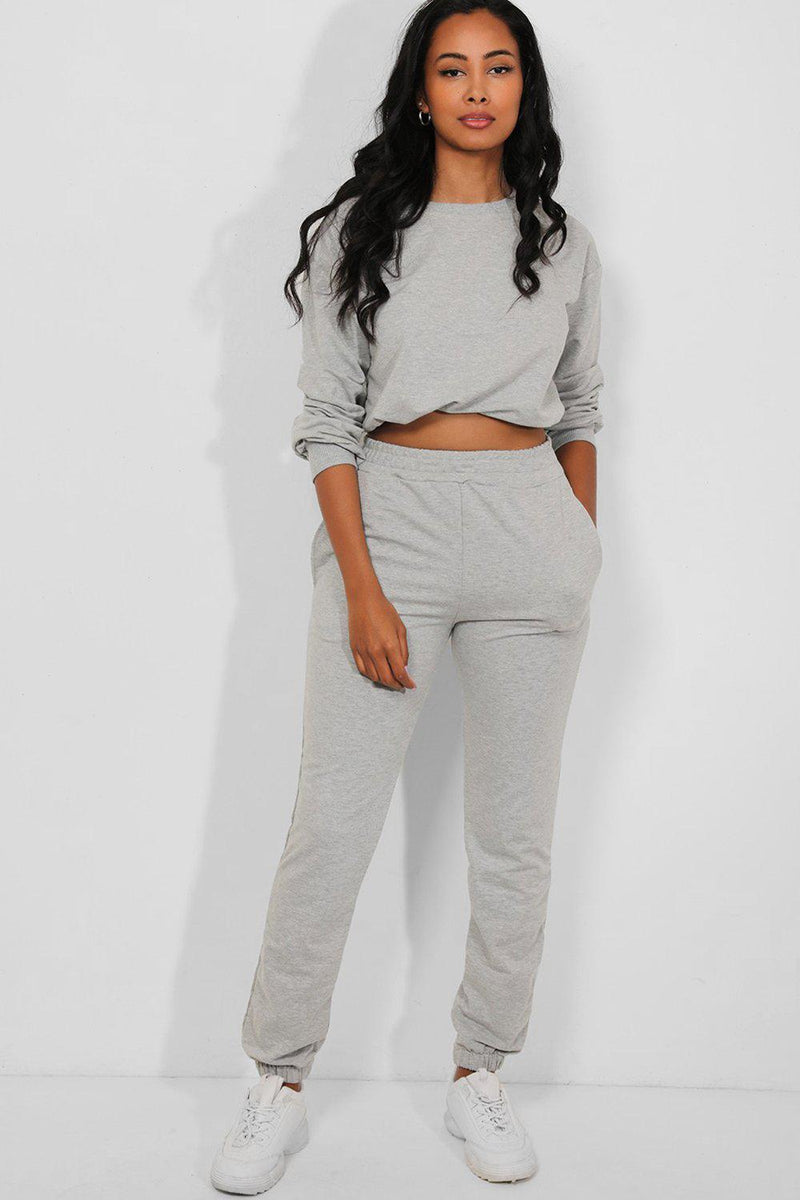 Grey Cropped Drawstring Top 2 Piece Tracksuit - SinglePrice